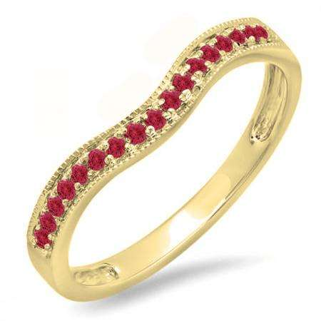 0.15 Carat (ctw) 10K Yellow Gold Round Red Ruby Ladies Anniversary Wedding Band Guard Ring