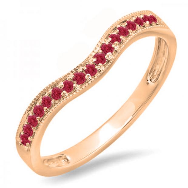 0.15 Carat (ctw) 14K Rose Gold Round Red Ruby Ladies Anniversary Wedding Band Guard Ring