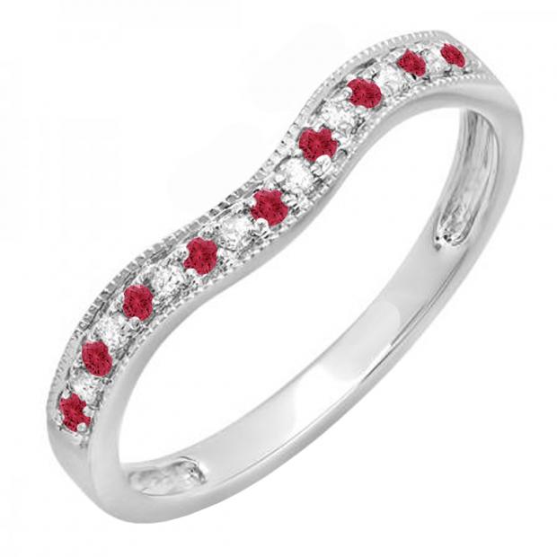 0.15 Carat (ctw) 10K White Gold Round Red Ruby & White Diamond Ladies Anniversary Wedding Band Guard Ring