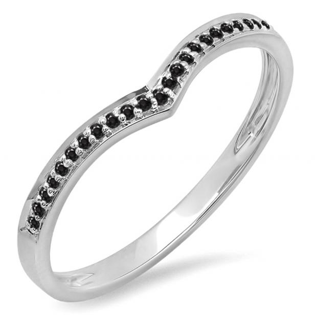 0.10 Carat (ctw) 14k White Gold Round Real Black Diamond Ladies Wedding Stackable Band Anniversary Guard Chevron Ring 1/10 CT