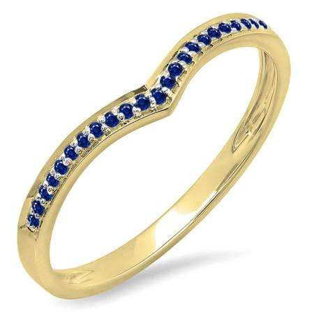 0.10 Carat (ctw) 10k Yellow Gold Round Real Blue Sapphire Ladies Wedding Stackable Band Anniversary Guard Chevron Ring 1/10 CT