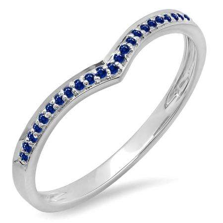 0.10 Carat (ctw) 14k White Gold Round Real Blue Sapphire Ladies Wedding Stackable Band Anniversary Guard Chevron Ring 1/10 CT