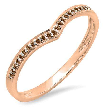 0.10 Carat (ctw) 10k Rose Gold Round Real Champagne Diamond Ladies Wedding Stackable Band Anniversary Guard Chevron Ring 1/10 CT