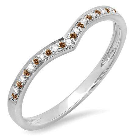 0.10 Carat (ctw) 14k White Gold Round Real Champagne & White Diamond Ladies Wedding Stackable Band Anniversary Guard Chevron Ring 1/10 CT