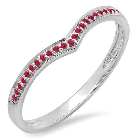 0.10 Carat (ctw) 14k White Gold Round Real Red Ruby Ladies Wedding Stackable Band Anniversary Guard Chevron Ring 1/10 CT