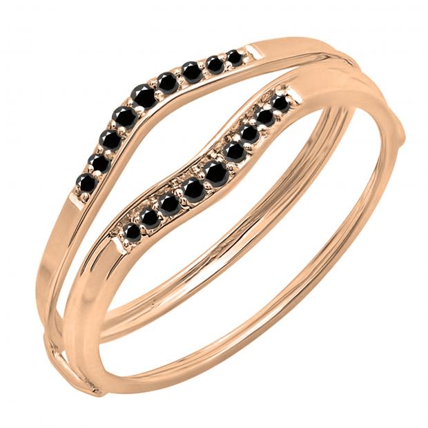 0.12 Carat (ctw) 14K Rose Gold Round Black Diamond Ladies Anniversary Enhancer Guard Wedding Band