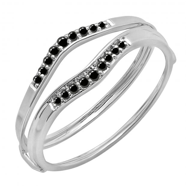 0.12 Carat (ctw) 14K White Gold Round Black Diamond Ladies Anniversary Enhancer Guard Wedding Band