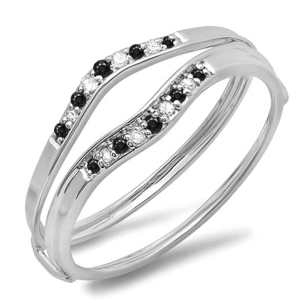 0.12 Carat (ctw) 14K White Gold Round Black & White Diamond Ladies Anniversary Enhancer Guard Wedding Band