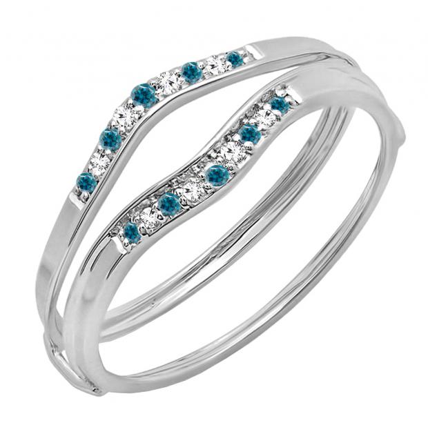 0.12 Carat (ctw) 10K White Gold Round Blue & White Diamond Ladies Anniversary Enhancer Guard Wedding Band