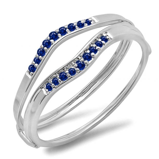 0.12 Carat (ctw) 10K White Gold Round Blue Sapphire Ladies Anniversary Enhancer Guard Wedding Band
