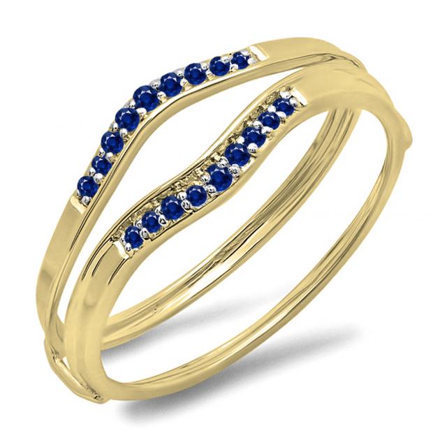 0.12 Carat (ctw) 10K Yellow Gold Round Blue Sapphire Ladies Anniversary Enhancer Guard Wedding Band