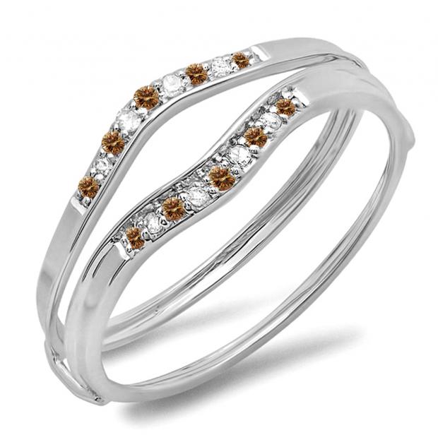 0.12 Carat (ctw) 10K White Gold Round Champagne & White Diamond Ladies Anniversary Enhancer Guard Wedding Band
