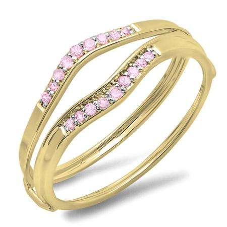 0.12 Carat (ctw) 18K Yellow Gold Round Pink Sapphire Ladies Anniversary Enhancer Guard Wedding Band