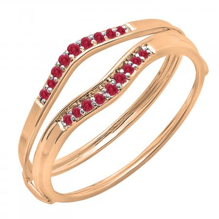 0.12 Carat (ctw) 14K Rose Gold Round Red Ruby Ladies Anniversary Enhancer Guard Wedding Band