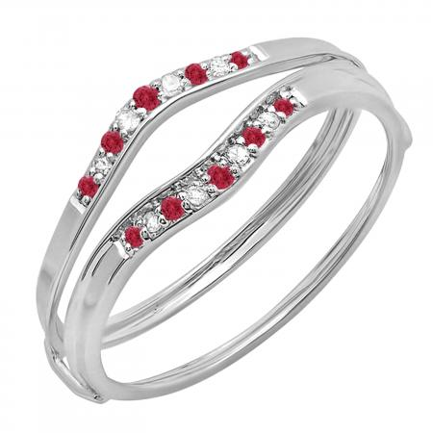 0.12 Carat (ctw) 14K White Gold Round Red Ruby & White Diamond Ladies Anniversary Enhancer Guard Wedding Band