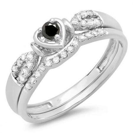 0.25 Carat (ctw) 10k White Gold Round Black & White Diamond Ladies Heart Shaped Bridal Engagement Ring Matching Band Set 1/4 CT