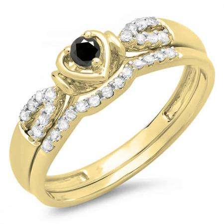 0.25 Carat (ctw) 10k Yellow Gold Round Black & White Diamond Ladies Heart Shaped Bridal Engagement Ring Matching Band Set 1/4 CT