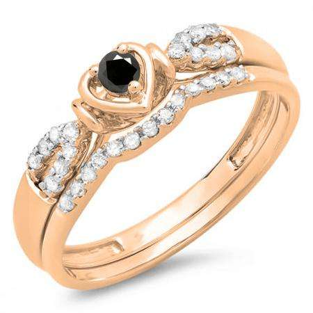 0.25 Carat (ctw) 14k Rose Gold Round Black & White Diamond Ladies Heart Shaped Bridal Engagement Ring Matching Band Set 1/4 CT