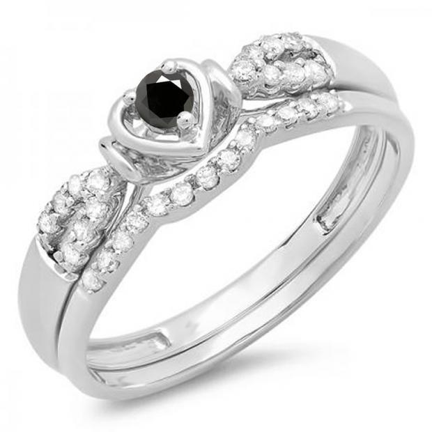 0.25 Carat (ctw) 14k White Gold Round Black & White Diamond Ladies Heart Shaped Bridal Engagement Ring Matching Band Set 1/4 CT