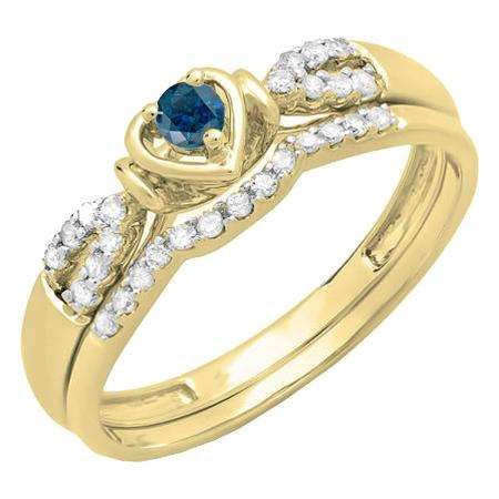 0.25 Carat (ctw) 10k Yellow Gold Round Blue & White Diamond Ladies Heart Shaped Bridal Engagement Ring Matching Band Set 1/4 CT