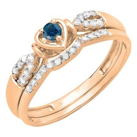0.25 Carat (ctw) 18k Rose Gold Round Blue & White Diamond Ladies Heart Shaped Bridal Engagement Ring Matching Band Set 1/4 CT