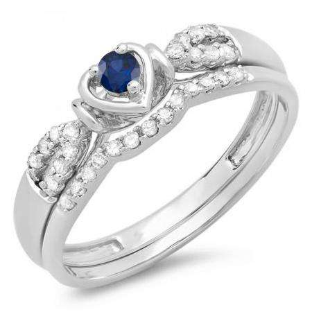 0.25 Carat (ctw) 10k White Gold Round Blue Sapphire & White Diamond Ladies Heart Shaped Bridal Engagement Ring Matching Band Set 1/4 CT
