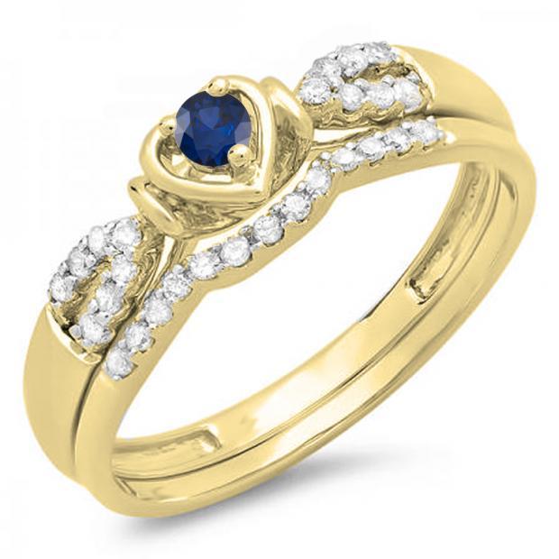 0.25 Carat (ctw) 10k Yellow Gold Round Blue Sapphire & White Diamond Ladies Heart Shaped Bridal Engagement Ring Matching Band Set 1/4 CT