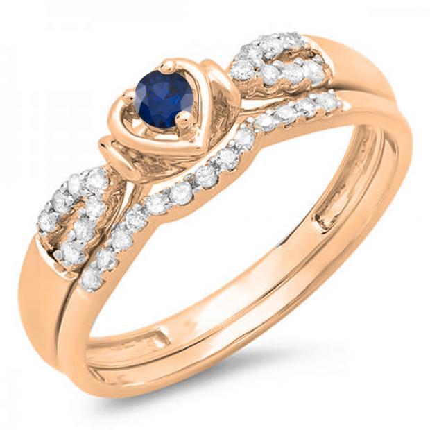 0.25 Carat (ctw) 18k Rose Gold Round Blue Sapphire & White Diamond Ladies Heart Shaped Bridal Engagement Ring Matching Band Set 1/4 CT