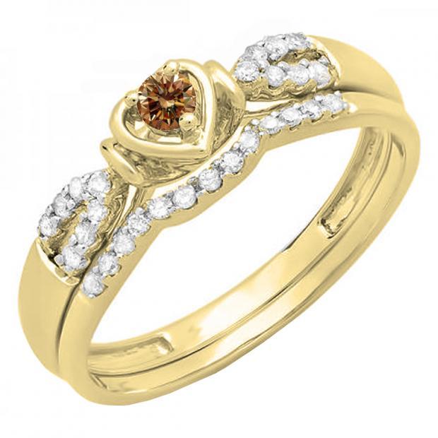 0.25 Carat (ctw) 18k Yellow Gold Round Champagne & White Diamond Ladies Heart Shaped Bridal Engagement Ring Matching Band Set 1/4 CT
