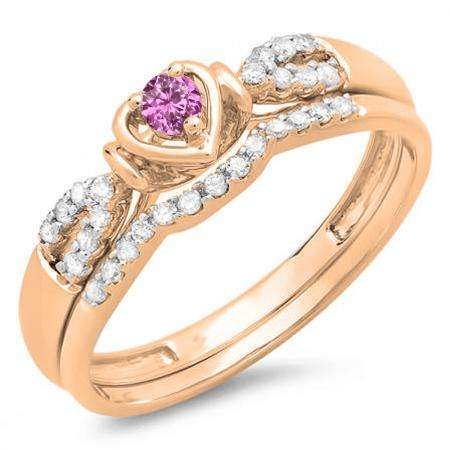 0.25 Carat (ctw) 10k Rose Gold Round Pink Sapphire & White Diamond Ladies Heart Shaped Bridal Engagement Ring Matching Band Set 1/4 CT