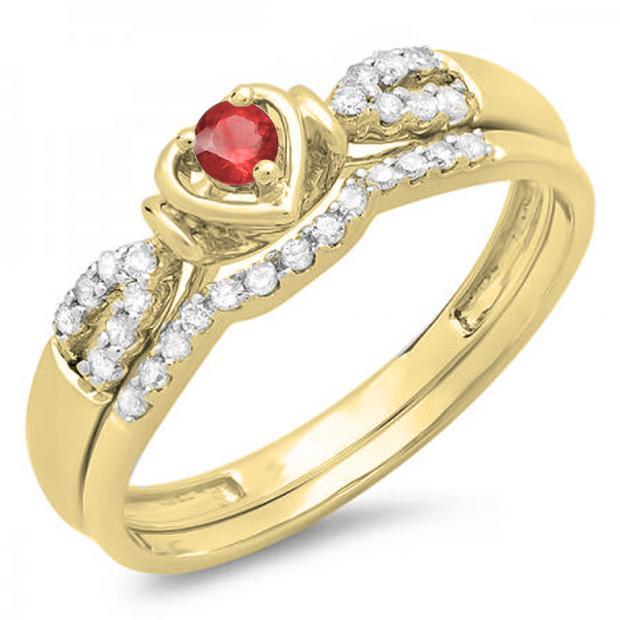 0.25 Carat (ctw) 10k Yellow Gold Round Red Ruby & White Diamond Ladies Heart Shaped Bridal Engagement Ring Matching Band Set 1/4 CT