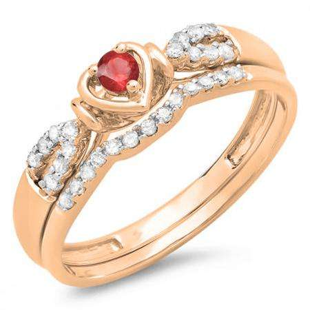 0.25 Carat (ctw) 14k Rose Gold Round Red Ruby & White Diamond Ladies Heart Shaped Bridal Engagement Ring Matching Band Set 1/4 CT