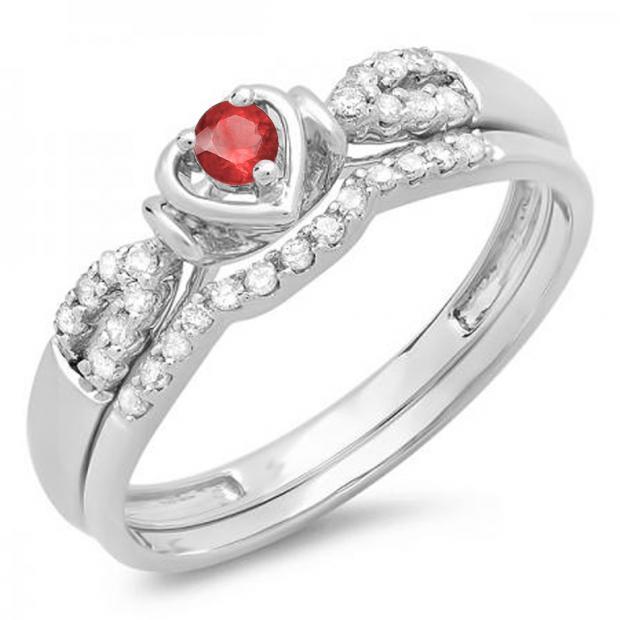 0.25 Carat (ctw) 14k White Gold Round Red Ruby & White Diamond Ladies Heart Shaped Bridal Engagement Ring Matching Band Set 1/4 CT