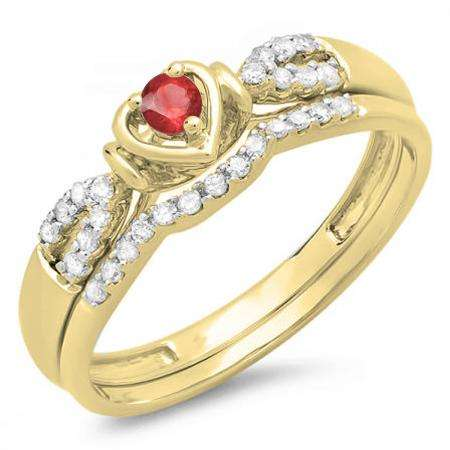 0.25 Carat (ctw) 18k Yellow Gold Round Red Ruby & White Diamond Ladies Heart Shaped Bridal Engagement Ring Matching Band Set 1/4 CT