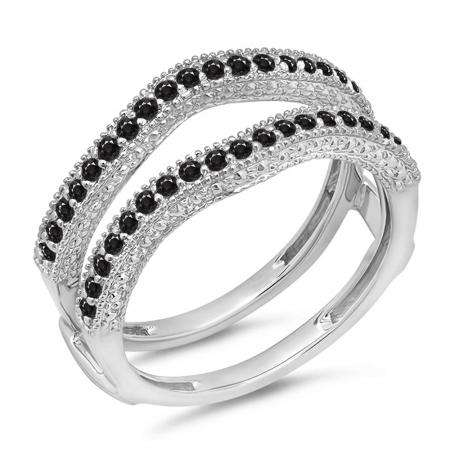 0.45 Carat (ctw) 10K White Gold Round Black Diamond Ladies Anniversary Wedding Band Millgrain Guard Double Ring 1/2 CT