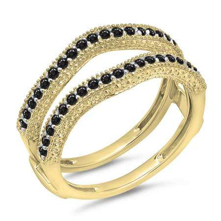 0.45 Carat (ctw) 10K Yellow Gold Round Black Diamond Ladies Anniversary Wedding Band Millgrain Guard Double Ring 1/2 CT