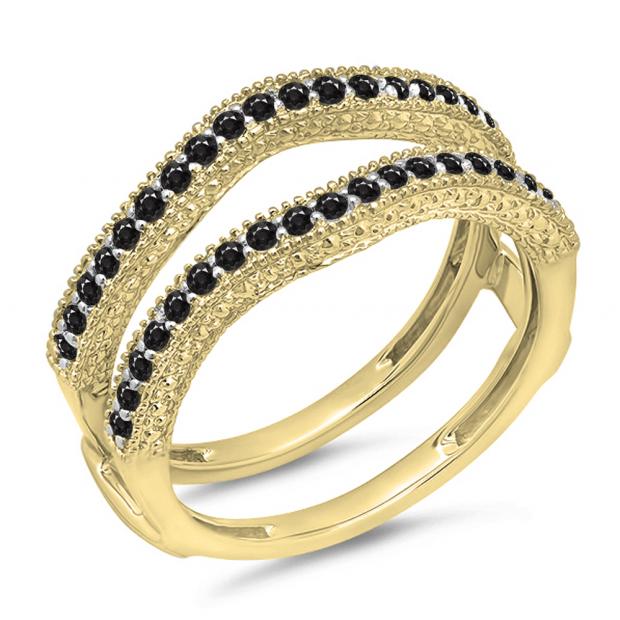 0.45 Carat (ctw) 14K Yellow Gold Round Black Diamond Ladies Anniversary Wedding Band Millgrain Guard Double Ring 1/2 CT