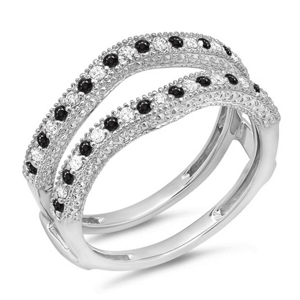 0.45 Carat (ctw) 10K White Gold Round Black & White Diamond Ladies Anniversary Wedding Band Millgrain Guard Double Ring 1/2 CT