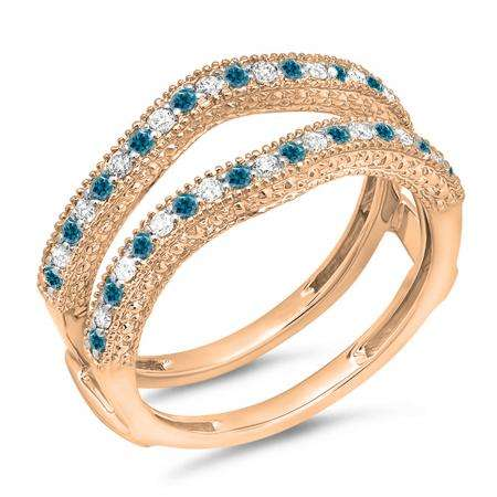 0.45 Carat (ctw) 10K Rose Gold Round Blue & White Diamond Ladies Anniversary Wedding Band Millgrain Guard Double Ring 1/2 CT