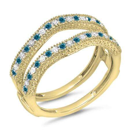 0.45 Carat (ctw) 14K Yellow Gold Round Blue & White Diamond Ladies Anniversary Wedding Band Millgrain Guard Double Ring 1/2 CT