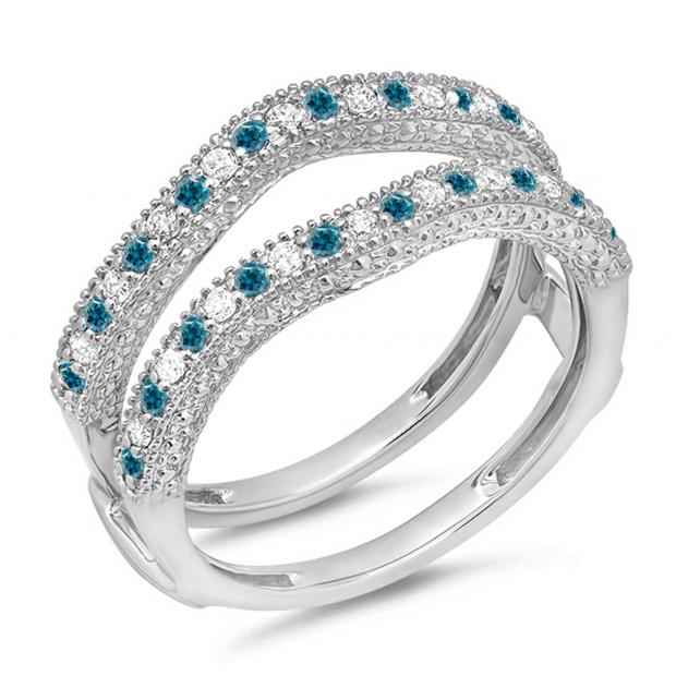 0.45 Carat (ctw) 18K White Gold Round Blue & White Diamond Ladies Anniversary Wedding Band Millgrain Guard Double Ring 1/2 CT