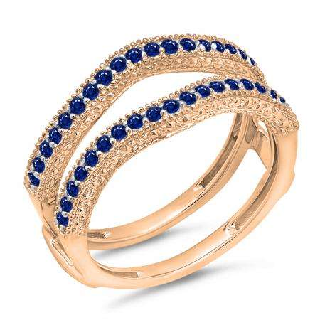 0.45 Carat (ctw) 14K Rose Gold Round Blue Sapphire Ladies Anniversary Wedding Band Millgrain Guard Double Ring 1/2 CT