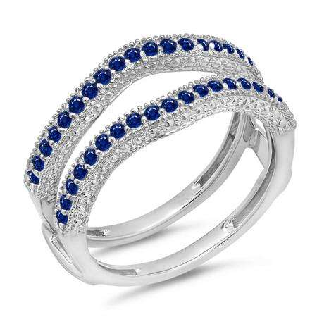 0.45 Carat (ctw) 18K White Gold Round Blue Sapphire Ladies Anniversary Wedding Band Millgrain Guard Double Ring 1/2 CT