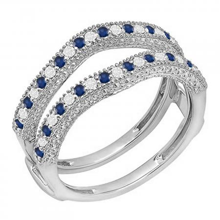 0.45 Carat (ctw) 10K White Gold Round Blue Sapphire & White Diamond Ladies Anniversary Wedding Band Millgrain Guard Double Ring 1/2 CT