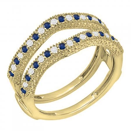 0.45 Carat (ctw) 10K Yellow Gold Round Blue Sapphire & White Diamond Ladies Anniversary Wedding Band Millgrain Guard Double Ring 1/2 CT