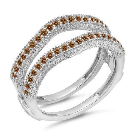 0.45 Carat (ctw) 10K White Gold Round Champagne Diamond Ladies Anniversary Wedding Band Millgrain Guard Double Ring 1/2 CT