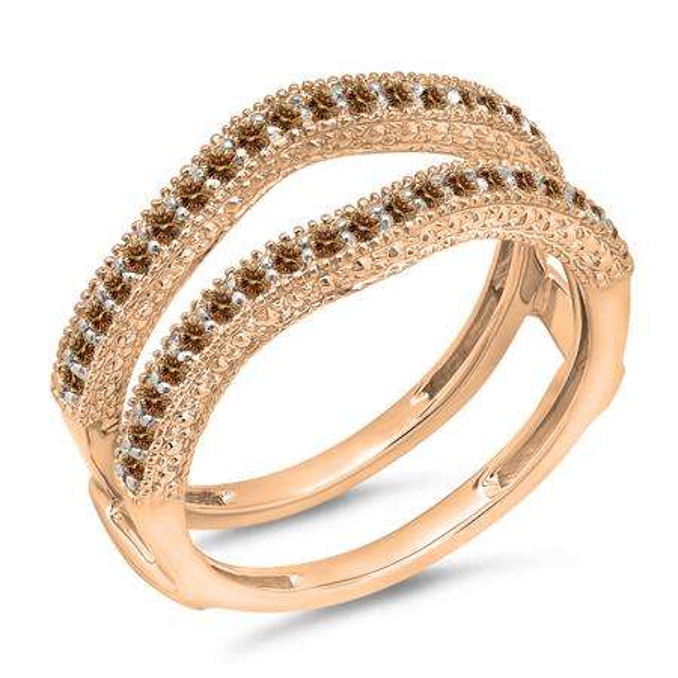 0.45 Carat (ctw) 18K Rose Gold Round Champagne Diamond Ladies Anniversary Wedding Band Millgrain Guard Double Ring 1/2 CT