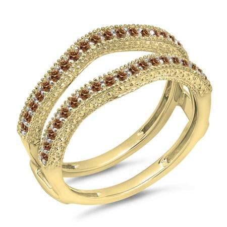 0.45 Carat (ctw) 18K Yellow Gold Round Champagne Diamond Ladies Anniversary Wedding Band Millgrain Guard Double Ring 1/2 CT