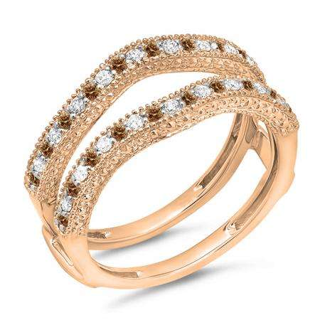 0.45 Carat (ctw) 18K Rose Gold Round Champagne & White Diamond Ladies Anniversary Wedding Band Millgrain Guard Double Ring 1/2 CT