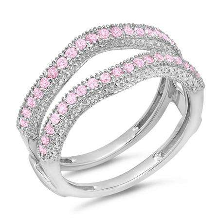0.45 Carat (ctw) 10K White Gold Round Pink Sapphire Ladies Anniversary Wedding Band Millgrain Guard Double Ring 1/2 CT